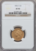 Three Dollar Gold Pieces, 1856-S $3 XF45 NGC....