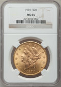 Liberty Double Eagles, 1901 $20 MS65 NGC....