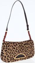 Luxury Accessories:Bags, Christian Dior Leopard Ponyhair Shoulder Bag with Brass Hardware....