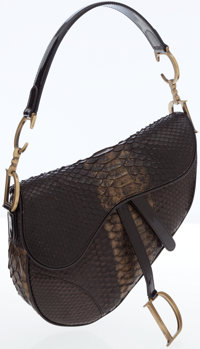 Christian Dior Python and Patent Leather Saddle Bag with Brass Hardware