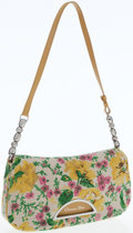Luxury Accessories:Bags, Christian Dior Floral Canvas Shoulder Bag with Goldenrod LeatherTrim. ...