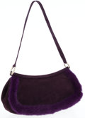 Luxury Accessories:Bags, Escada Purple Suede and Fur Flap Shoulder Bag with Silver Hardware....