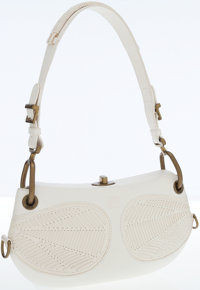 Loewe White Leather Shoulder Bag with Brass Hardware