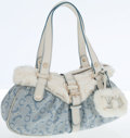 Luxury Accessories:Bags, Celine Light Blue Canvas, White Leather, and Fur Shoulder Bag. ...