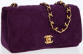 Luxury Accessories:Bags, Chanel Purple Quilted Suede Small Flap Bag with CC Turnlock. ...