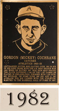 Baseball Collectibles:Others, 1982 Philadelphia Athletics Hall of Fame Plaque: MickeyCochrane....