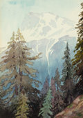 American:Western, CHRISTIAN JORGENSEN (American, 1860-1935). El Capitan,Yosemite. Watercolor on paper. 10 x 7 inches (25.4 x 17.8 cm)(si...