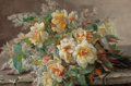 American:Western, RAOUL M. DE LONGPRÉ (French, 1843-1911). Lilacs and Roses.Oil on paper laid on board. 17 x 25-1/2 inches (43.2 x 64.8 c...