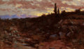 American, JOHN BOND FRANCISCO (American, 1863-1931). Sunset Landscape,1891. Oil on canvas . 9 x 15 inches (22.9 x 38.1 cm). Signe...