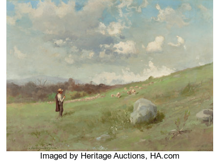 GUTZON BORGLUM (American, 1867-1941) In the California Hills, 1895 Oil on board 18 x 24-3/4 inches (45.7 x 62.9 cm) ...
