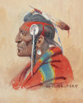 Works on Paper, OLAF CARL SELTZER (American, 1877-1957). Plains Chief. Watercolor on paper . 17-1/4 x 5-5/8 inches (43.8 x 14.3 cm) (sig...