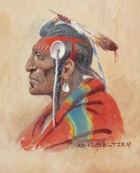 OLAF CARL SELTZER (American, 1877-1957) Plains Chief Watercolor on paper 17-1/4 x 5-5/8 inches (