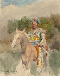 ROSA BONHEUR (French, 1822-1899) Indian on Horseback, circa 1889 Watercolor on paper 10 x 8 inch