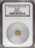 California Fractional Gold: , 1867 25C Liberty Round 25 Cents, BG-825, R.4, MS61 NGC. PCGSPopulation (7/43). (#10686)...