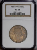 Coins of Hawaii: , 1883 50C Hawaii Half Dollar MS63 NGC. Highly lustrous beneath reddish-gray and mottled golden toning, with more colorful sp...