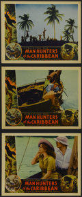 "Movie Posters:Documentary, Man Hunters of the Caribbean (Inter Continent, 1938). Lobby Cards (3) (11"" X 14""). Documentary. Starring Andre Roosevelt, E.... (Total: 3 Items)"
