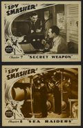 "Movie Posters:Action, Spy Smasher (Republic, 1942). Lobby Cards (2) (11"" X 14""). Chapter 7 -- ""Secret Weapon"" and Chapter 8 -- ""Sea Raiders."" Seri... (Total: 2 Items)"