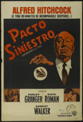 "Movie Posters:Hitchcock, Strangers on a Train (Warner Brothers, 1951). Argentinian One Sheet(29"" X 43""). Thriller. Directed by Alfred Hitchcock. Sta..."