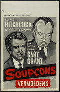 """Movie Posters:Hitchcock, Suspicion (RKO, R-1960s). Belgian (14"""" X 22""""). Thriller. Directedby Alfred Hitchcock. Starring Joan Fontaine, Cary Grant, C..."""