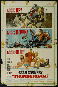 """Thunderball (United Artists, 1965). One Sheet (27"""" X 41""""). Action. Starring Sean Connery, Claudine Auger, Adol..."""