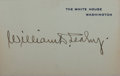 Autographs:Military Figures, Admiral William D. Leahy White House Card Signed....