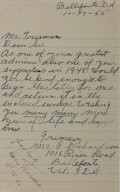 Autographs:U.S. Presidents, Harry Truman Autograph Note Signed....