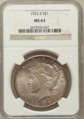 Peace Dollars: , 1922-S $1 MS63 NGC. NGC Census: (1737/2058). PCGS Population(2405/2147). Mintage: 17,475,000. Numismedia Wsl. Price for pr...