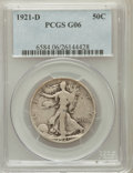 Walking Liberty Half Dollars: , 1921-D 50C Good 6 PCGS. PCGS Population (293/1144). NGC Census:(171/677). Mintage: 208,000. Numismedia Wsl. Price for prob...
