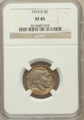 Buffalo Nickels: , 1919-D 5C XF45 NGC. NGC Census: (30/396). PCGS Population (42/568).Mintage: 8,006,000. Numismedia Wsl. Price for problem f...