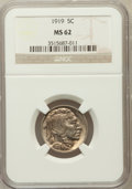 Buffalo Nickels: , 1919 5C MS62 NGC. NGC Census: (91/871). PCGS Population (50/1412).Mintage: 60,868,000. Numismedia Wsl. Price for problem f...