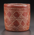 Pre-Columbian:Ceramics, A MAYA RED CYLINDER VESSEL WITH INCISED DECORATION. c. 600 - 900AD...