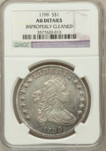 Early Dollars, 1799 $1 7x6 Stars -- Improperly Cleaned -- NGC Details. AU. NGCCensus: (72/393). PCGS Population (121/322). Mintage: 4...