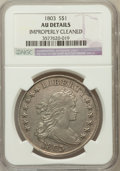 Early Dollars, 1803 $1 Small 3 Improperly Cleaned -- NGC Details. AU. NGC Census:(26/76). PCGS Population (14/33). Mintage: 85,634. N...