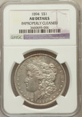 Morgan Dollars, 1894 $1 -- Improperly Cleaned -- NGC Details. AU. NGC Census:(129/1814). PCGS Population (285/2277). Mintage: 110,972. Num...