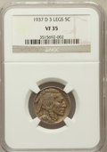 Buffalo Nickels: , 1937-D 5C Three-Legged VF35 NGC. NGC Census: (147/4708). PCGSPopulation (405/4789). Mintage: 17,826,000. Numismedia Wsl. P...