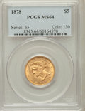 Liberty Half Eagles: , 1878 $5 MS64 PCGS. PCGS Population (16/5). NGC Census: (16/3).Mintage: 131,740. Numismedia Wsl. Price for problem free NGC...
