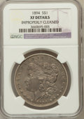Morgan Dollars, 1894 $1 -- Improperly Cleaned -- NGC Details. XF. NGC Census:(155/2233). PCGS Population (296/3025). Mintage: 110,972....