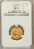 Indian Half Eagles, 1915 $5 AU58 NGC. NGC Census: (1188/4703). PCGS Population(732/3318). Mintage: 588,075. Numismedia Wsl. Price for problem ...