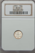 Three Cent Silver: , 1862 3CS MS63 NGC. NGC Census: (166/667). PCGS Population(214/579). Mintage: 343,000. Numismedia Wsl. Price for problemfr...