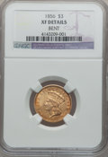 Three Dollar Gold Pieces, 1856 $3 -- Bent -- NGC Details. XF. Mintage: 26,010....