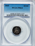 Proof Seated Half Dimes: , 1865 H10C PR64 PCGS. PCGS Population (54/26). NGC Census: (36/44).Mintage: 500. Numismedia Wsl. Price for problem free NGC...