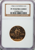 Modern Issues: , 1984-S G$10 Olympic Gold Ten Dollar PR70 Ultra Cameo NGC. NGCCensus: (371). PCGS Population (118). Mintage: 48,551. Numism...