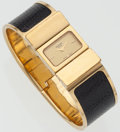 Luxury Accessories:Accessories, Hermes Gold and Black Lizard Loquet Watch. ...