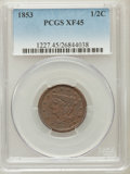 1853 1/2 C XF45 PCGS. PCGS Population (37/642). NGC Census: (10/790). Mintage: 129,694. Numismedia Wsl. Price for proble...