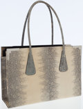 Luxury Accessories:Bags, Escada Natural Ring Lizard Tote Bag with Silver Hardware. ...