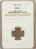 Seated Half Dimes: , 1857 H10C MS62 NGC. NGC Census: (91/510). PCGS Population (55/367).Mintage: 7,280,000. Numismedia Wsl. Price for problem f...