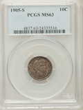Barber Dimes: , 1905-S 10C MS63 PCGS. PCGS Population (32/87). NGC Census: (34/41).Mintage: 6,855,199. Numismedia Wsl. Price for problem f...