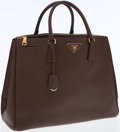 Luxury Accessories:Bags, Prada Brown Leather Saffiano Lux Double-Zip Large Tote Bag. ...