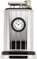 Timepieces:Clocks, Cartier Limited Edition Platinum Finish Table Lighter With Watch,No. 201/1000. ...