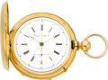 Timepieces:Pocket (pre 1900) , Auguste Saltzman Very Fine Gold Two Train With Independent Seconds & 1/4 Second Jump, circa 1860. ...